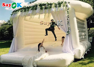 Commercial Inflatable Bounce For Wedding Party / White Bouncy Castle
