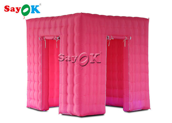 Pink Inflatable Cube Photo Booth Tent Shell With Color Changing LED Lights