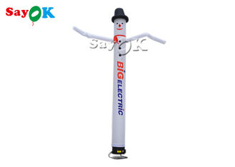 White Inflatable Air Dancer With Log Print 4m/5M/6m High With Light For Advertising