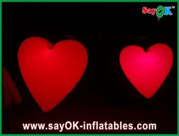 Beau grand coeur gonflable rouge avec les lumières menées pour le festival, diamètre 1.5M