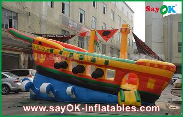 Chambre gonflable jaune/rouge/bleue de rebond de château de publicité commerciale de bateau de pirate